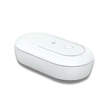 Uv-licht telefoon ontsmettingsmiddel masker tandenborstel sleutel sieraden telefoon sterilisator desinfectie doos + 10w draadloze oplader
