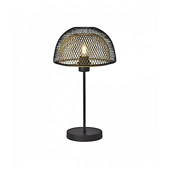 1-light Honeycomb Double Layer Table Lamp - Black Exterior With Gold Interior