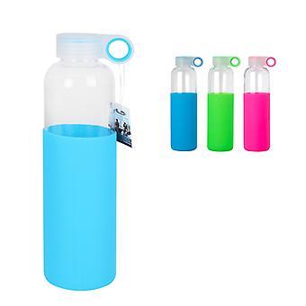 Water bottle Bewinner Glass Case Silicone (600 ml)