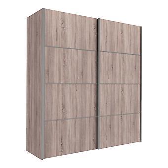 Phillipe Sliding Wardrobe 180cm In Truffle Oak With Truffle Oak Doors With Five Shelves