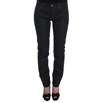Cavalli Blue Cotton Blend Slim Fit Stretch Jeans