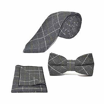 Cravatta, cravatta e cravatta grigio carbone Heritage Check Set quadrato tascabile