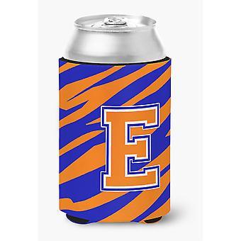 Buchstabe E ersten Monogramm Tiger Streifen Blau Orange Dose oder Flasche Getränk Isolator Hugger