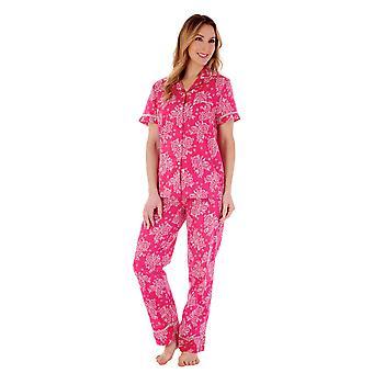 Slenderella PJ55214 Women's Raspberry Floral Cotton Pyjama Set