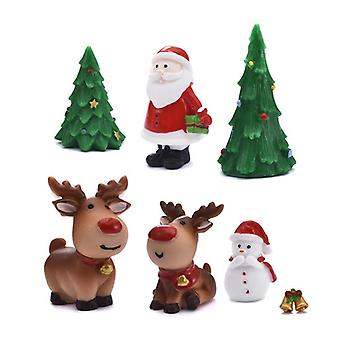 Miniature Christmas Tree Santa Claus Snowmen Terrarium Garden Figurines