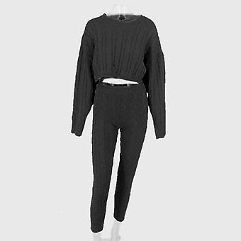 O-neck Autumn Winter Crop Pullover And Long Pants Two-piece Set