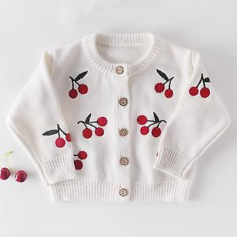 Cherry Embroidered Baby Cardigan Sweater, Toddler Coat, Jacket, Infant Clothes