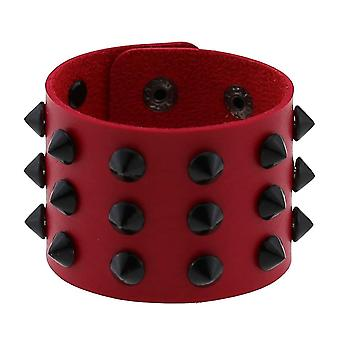 Gothic Punk 3 rækker sort nitte spike pu læder armbånd / mænd
