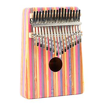 17 Keys Kalimba Thumb Piano Stripe Pattern Beginner Portable Musical Instrument