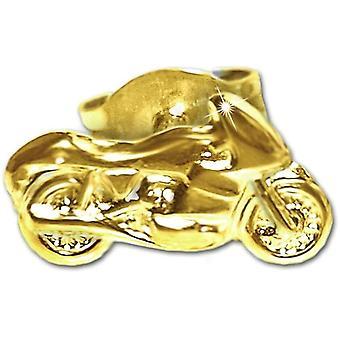 HanFei Goldener einzelner Single Ohrstecker Motorrad 9 x 5 mm nach rechts fahrend glnzend 333 GOLD 8