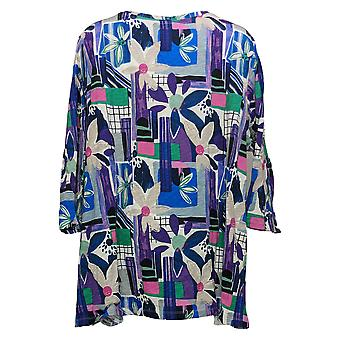 LOGO By Lori Goldstein Women's 3/4 Sleeve Printed Top Blue A394177