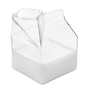2-pack Glass Milk Carton Clear Mini Creamer Container Pitcher Coffee Cup Juice Bottle