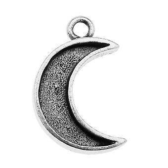 Nunn Design Mini Bezel Pendant, Crescent Moon 11.5x18.5mm, 1 Piece, Antiqued Silver