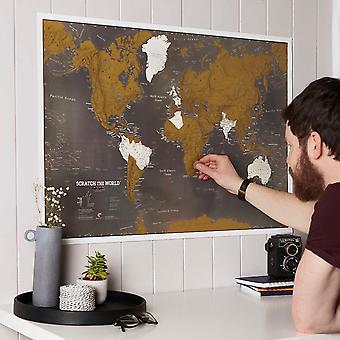 Scratch the World® svart upplaga karttryck (Silk Art Paper)