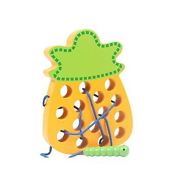Vierme mănâncă fructe Montessori jucării educative din lemn 3D jucării puzzle din lemn | Jucării matematice