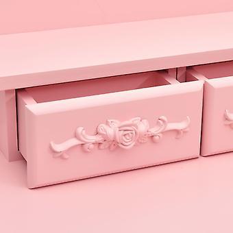 vidaXL kaptafel set met kruk roze 50x59x136 cm Paulownia hout
