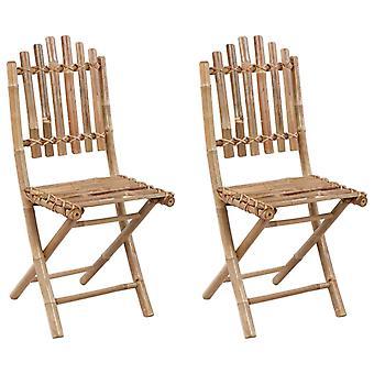 vidaXL Sillas de jardín plegables 2 piezas con cojín de bambú