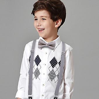 6 Clips Suspenders Bowtie Set, Polyester Y-back Braces