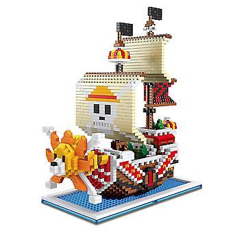 New One Piece Thousand Sunny Building Blocks Puzzle Micro 3d Figures Educational Brick Toys ES7505