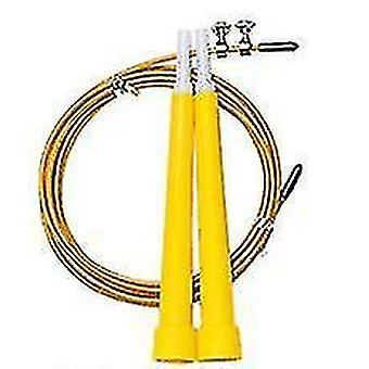 2Pcs manico in plastica gialla filo d'acciaio che salta corda, attrezzature per l'esercizio fisico per la perdita di peso per adulti az13585