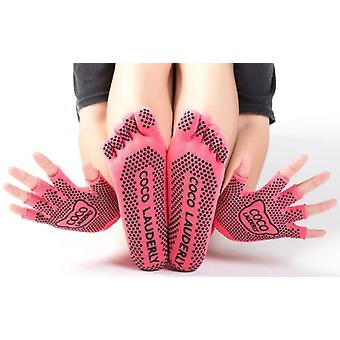 Kvinnor yoga strumpor vante halv tå halkfri halv fingrar kör handskar 5 färger bomull