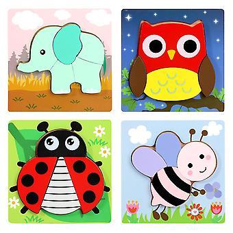 Puzzle di legno 3d per bambini piccoli, giocattoli educativi per bambini (animali)