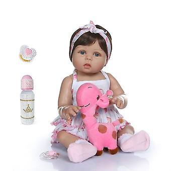 47Cm nouveau-né bebe poupée renaître bébé fille poupée dans la peau bronzée corps complet silicone baignoire poupées de bain noël gfit