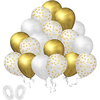 Luftballons Gold Set, 60 Stück Konfetti Latex Luftballons, Helium Weiß aud Gold Balloons für Baby