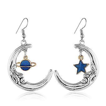 Boucles d'oreilles courtes Universe Star Moon Pentagram Glossy Alloy Eardrops For Wedding