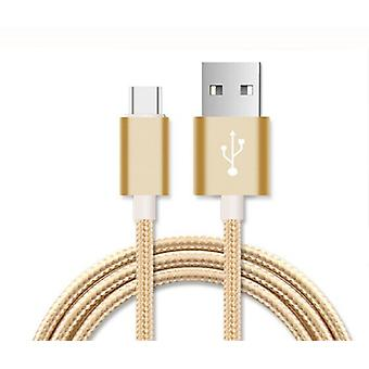 (Gold) 2 Meter Micro USB Cable Nylon Braided for ZTE Nubia My Prague