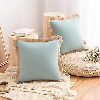 12-värinen puuvilla ja pellavainen tupsureunainen tyynynpäällinen, yksinkertainen kotisohva, tyynyliina