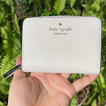 Kate Spade darcy kleine Reißverschluss Karte Fall Münze Brieftasche Pergament weiß creme Leder