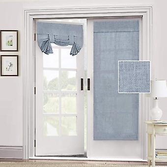 2X dörr gardin naturligt linne blandat - integritet franska dörr gardin ljus glödtråd tricia fönster dörr gardin binda upp skugga, stenblå