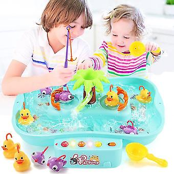 Fishing toys kids house play game fishing toys set with sound and light electricwater cycle fishing game toys