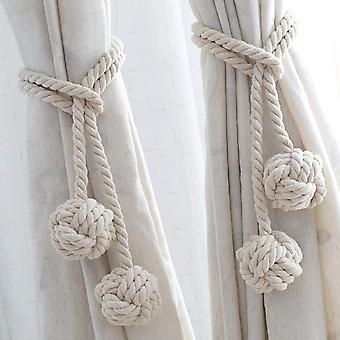 Vorhang Krawatte Seil 2 Stück Fenster Dekoration Krawatte Ball Handgewebte Baumwolle Garn Krawatte Hängende Dekorative Kugel Vorhang Accessoires