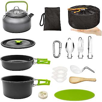 Camping Pan And Pot Set, Portable Outdoor Cooking Utensils, Teapot Bowl Cutlery Set With Mesh, Suitable For Hiking, Hiking, Backpacking, Picnic, Suita