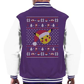 Christmas Pikachu Knit Pattern Pokemon Men's Varsity Jacket