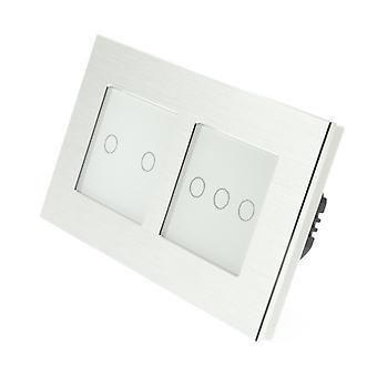 Я LumoS серебряный матовый алюминий Двойная рамка 5 Gang 1 способ удаленного WIFI / 4G сенсорный Светодиодные переключения белой вставкой