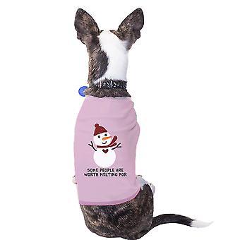 Vale la pena camiseta del animal doméstico de muñeco de nieve de fusión vacaciones divertido regalo para perro amantes