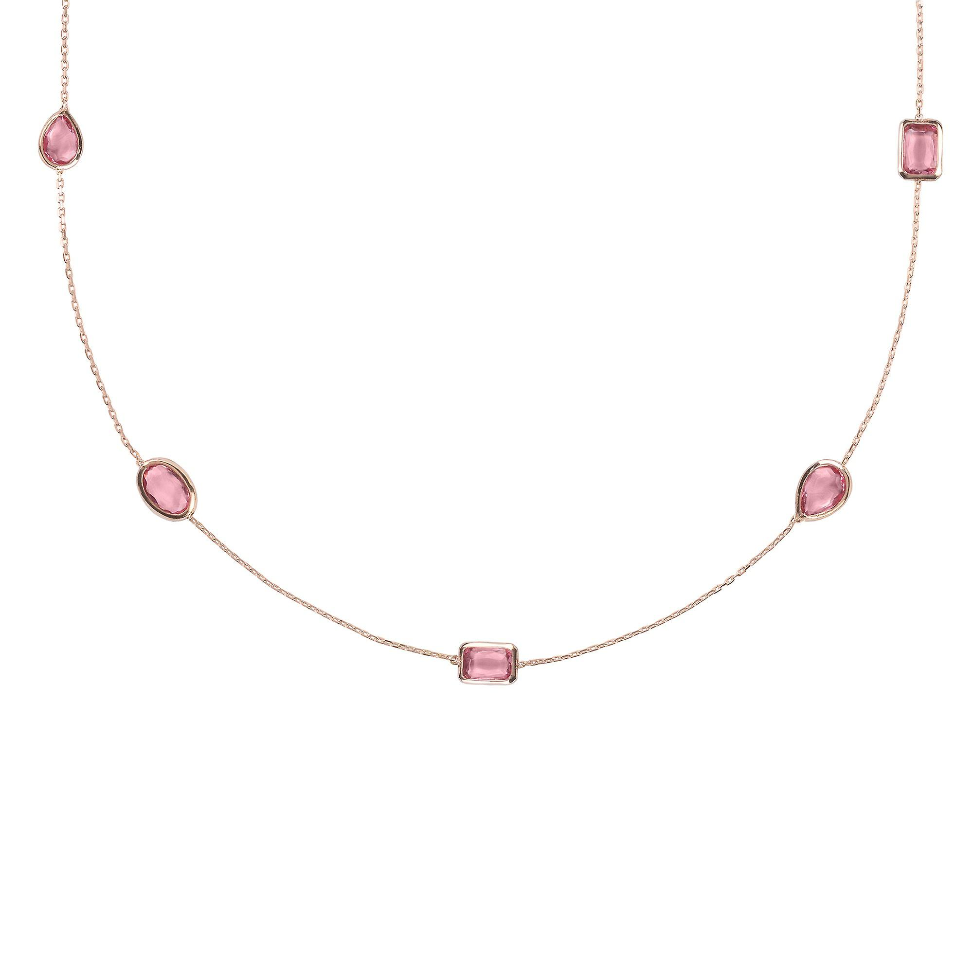 Latelita Long Chain Gemstone Necklace Rose Pink Gold Tourmaline 120cm Delicate