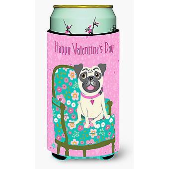 Happy Valentine's Day Pug Tall Boy Beverage Insulator Hugger