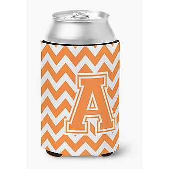 Letter A Chevron Orange and White Can or Bottle Hugger