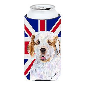 Clumber Spaniel Inglés Union Jack británico bandera muchacho alto bebidas aislante