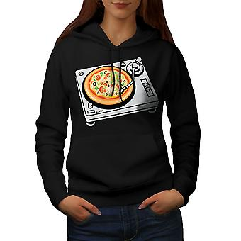 Pizza Dj Mix Music Food Women BlackHoodie | Wellcoda