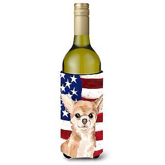 Chihuahua Patriotic Wine Bottle Beverge Insulator Hugger