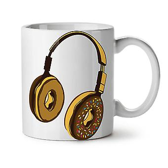 Headset Donut Music Music NEW White Tea Coffee Ceramic Mug 11 oz | Wellcoda