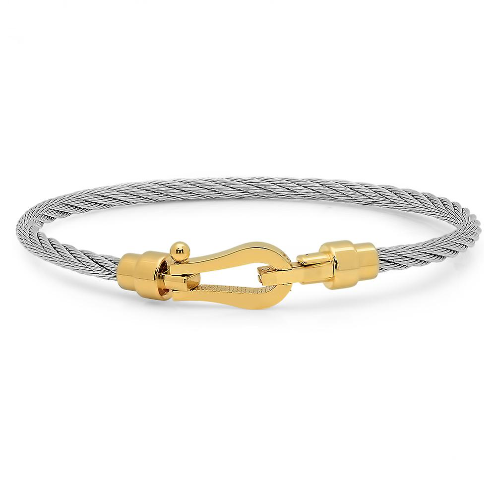 Ladies 18K Gold Plated Stainless Steel Wire Bracelet