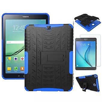 Ibrido outdoor borsa blu per Samsung Galaxy S2 9,7 SM T810 + 0,4 in vetro temperato