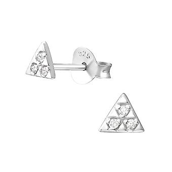 Triangle - 925 Sterling Silver Cubic Zirconia Ear Studs - W37338x