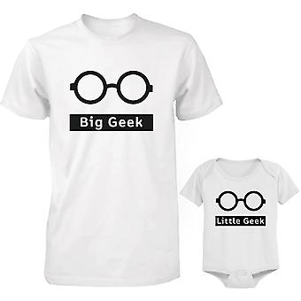 Big Geek and Little Geek Dad and Baby Matching Shirt and Bodysuit